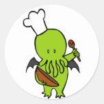 Cocinero junto con Cthulhu Etiquetas Redondas