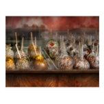 Cocinero - manzanas de caramelo para la venta postal