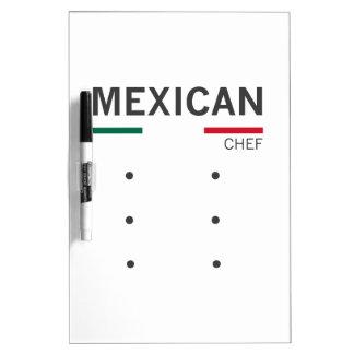 Cocinero mexicano pizarras blancas de calidad