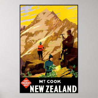 Cocinero Nueva Zelanda del soporte de Aoraki Póster