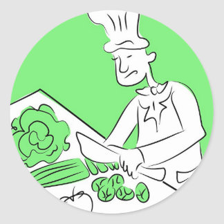 Cocinero orgánico pegatina redonda