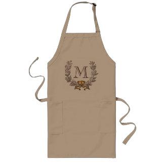 Cocinero personalizado guirnalda de la inicial del delantal largo