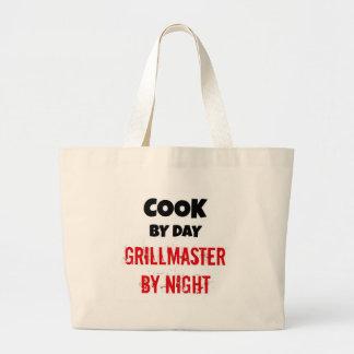Cocinero por el día Grillmaster por noche Bolsa Tela Grande