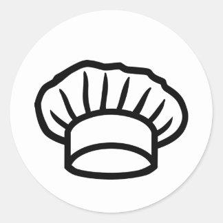 Cocinero que cocina el gorra pegatina redonda