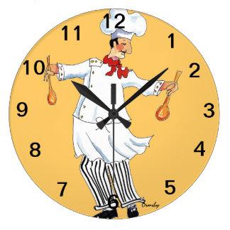 Cocinero que lanza el reloj de pared