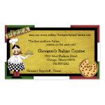 Cocinero que sirve la pizza caliente tarjetas de visita