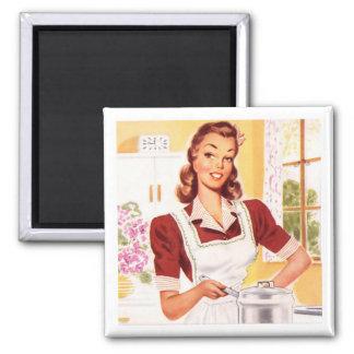Cocinero retro de los años 50 imán cuadrado