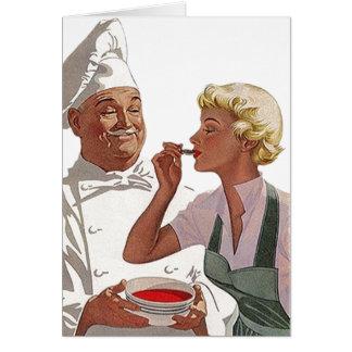 Cocinero retro del vintage de la tarjeta de nota