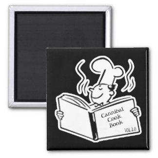 Cocinero retro - libro del cocinero del caníbal imán cuadrado