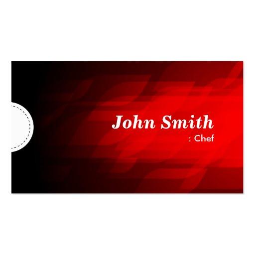 Cocinero - rojo oscuro moderno tarjeta de visita