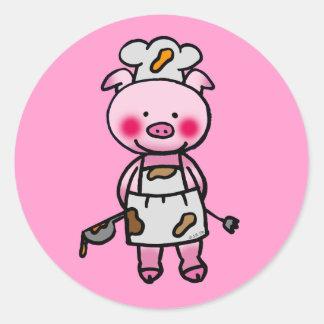Cocinero rosado del cerdo del dibujo animado etiquetas