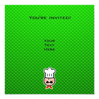 """Cocinero verde invitación 5.25"""" x 5.25"""""""