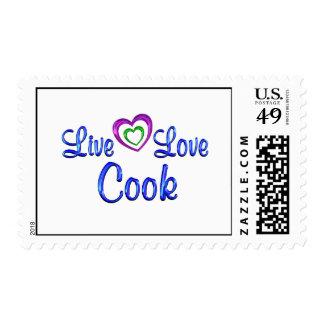 Cocinero vivo del amor timbres postales