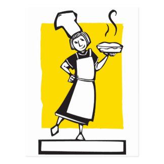 Cocinero y empanada fresca postal