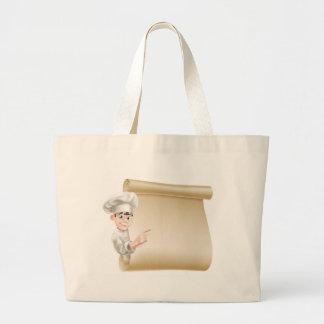 Cocinero y menú del dibujo animado bolsas lienzo