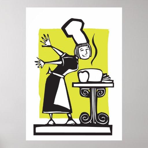 Cocinero y pan cocido póster