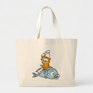 Cocinero y pescados del gato del dibujo animado bolsa de mano