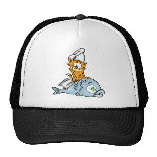 Cocinero y pescados del gato del dibujo animado gorras de camionero