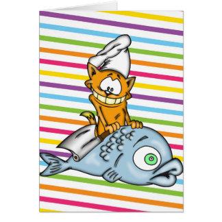 Cocinero y pescados del gato del dibujo animado tarjeta
