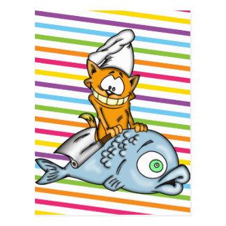 Cocinero y pescados del gato del dibujo animado postal