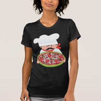 Cocinero y pizza playera