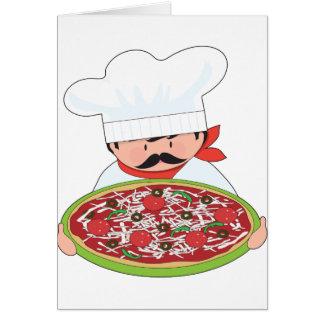 Cocinero y pizza tarjeton