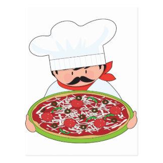 Cocinero y pizza tarjetas postales