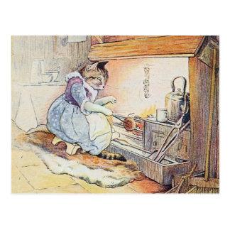 Cocineros del gato del gatito por la chimenea tarjeta postal