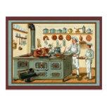 Cocineros del vintage en la cocina tarjeta postal