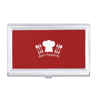Cocineros franceses gorra y cubiertos del caja de tarjetas de visita