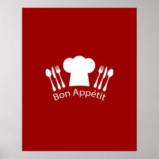 Cocineros franceses gorra y cubiertos del póster