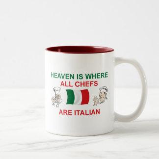 Cocineros italianos taza de café de dos colores