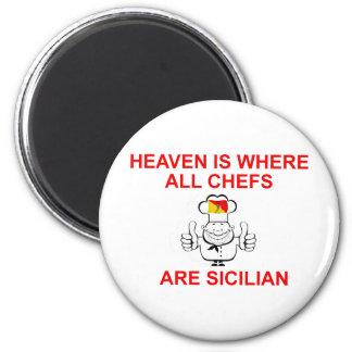 Cocineros sicilianos imán redondo 5 cm