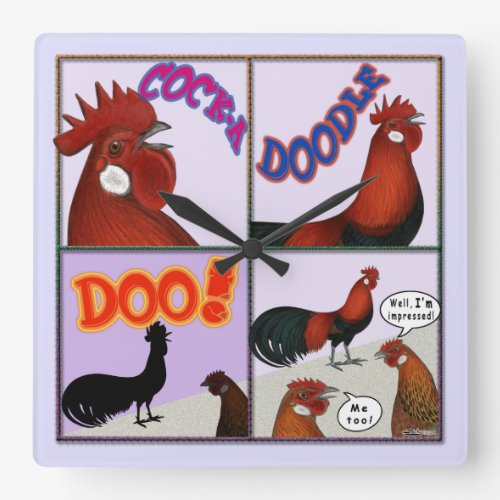 Cock-A-Doodle-Doo! Square Wall Clock