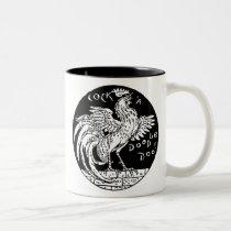 cock-a-doodle-doo Two-Tone coffee mug
