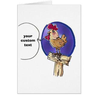 cock on wooden fence cartoon with custom text card