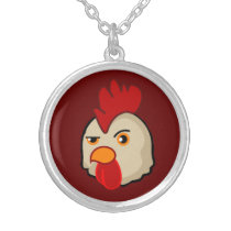 Cock With Attitude Silver Plated Necklace