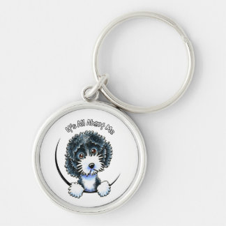 Cockapoo Black Parti IAAM Silver-Colored Round Keychain