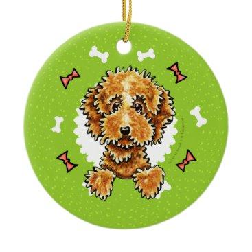 Christmas Themed Cockapoo Tan Dog Bones Christmas Wreath Ceramic Ornament