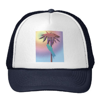 Cockatiel and Palm Tree Digital Art Trucker Hat