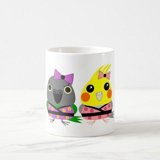 Cockatiel and Senegal Parrot in Kimonos Coffee Mug