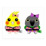 Cockatiel and Senegal Parrot in Kimonos Post Card