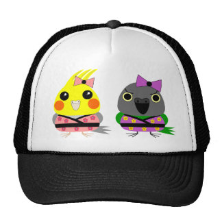 Cockatiel and Senegal Parrot in Kimonos Trucker Hat