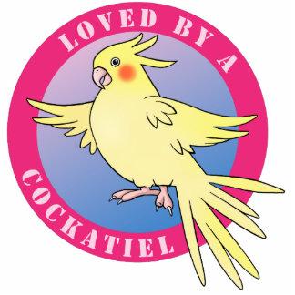 Cockatiel Bird cut out Pink Pin
