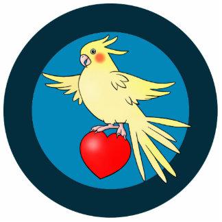 Cockatiel Bird on Heart acrylic cutout Pin Photo Cutout