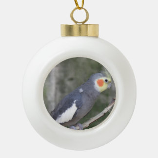Cockatiel Bird Ceramic Ball Christmas Ornament