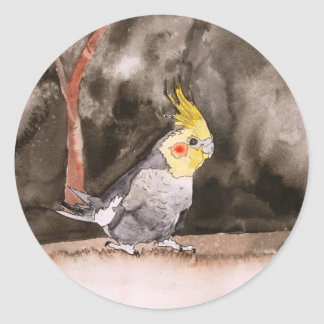 cockatiel bird painting round sticker