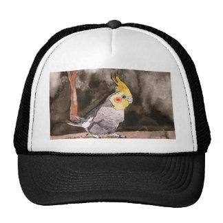 cockatiel bird painting trucker hat