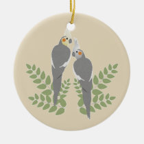 Cockatiel Couple Ceramic Ornament
