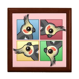 Cockatiel de cuatro colores cajas de joyas